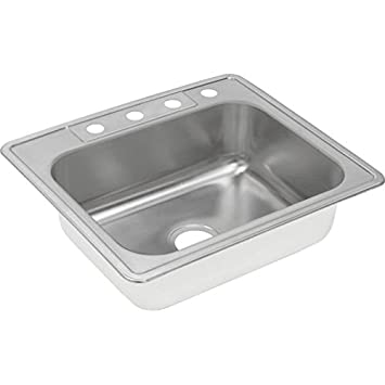 Elkay DXR25221 18 Gauge Stainless Steel Single Bowl Top Mount Kitchen Sink, 25 x 22 x 8.1875""