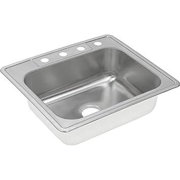 """Elkay DXR25221 18 Gauge Stainless Steel Single Bowl Top Mount Kitchen Sink, 25 x 22 x 8.1875"""""""
