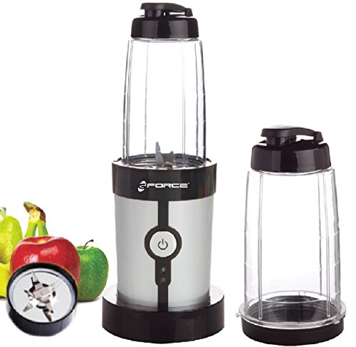 GForce GF-P1546-1229 On the Go Stainless Steel Mini Blender With Two Traveling 0.6L Cups (Small Stainless Steel Blender compare prices)