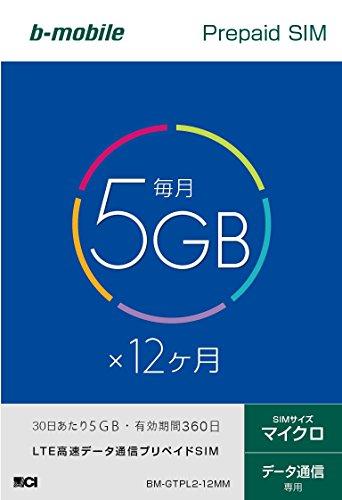 日本通信 bモバイル 5GB×12ヶ月プリペイドSIMパッケージ(マイクロSIM) BM-GTPL2-12MM