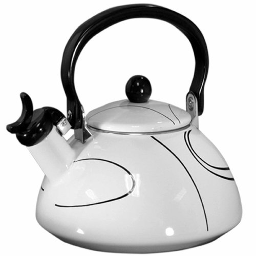 Corelle Coordinates 2-1/5-Quart Whistling Teakettle, Simple Lines (Black And White Kettle compare prices)