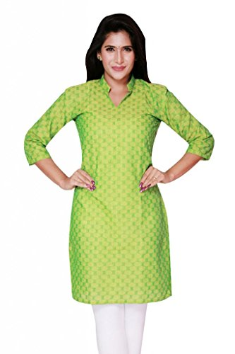 Weaves Pure Cotton Dobby Design Green Kurti (Multicolor)