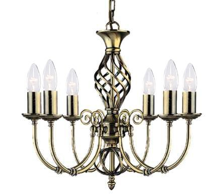 Zanzibar Antique Brass 6 Light Pendant 6X60 Watt Bc Lamps