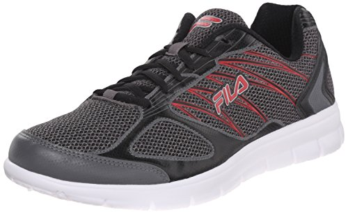 Fila Men's 3A Capacity Running Shoe, Dark Silver/Black/Fila Red, 10 M US