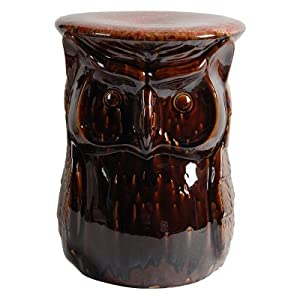 "Owl Porcelain Garden Stool Brown 12.5""x17"""