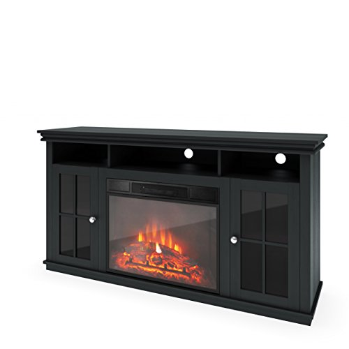 Corliving Tfp-608-Z Carter Tv Bench With Fireplace, 65-Inch, Black Wood Grain