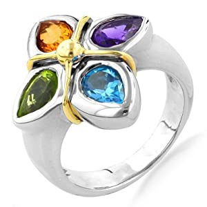18K Yellow Gold and Sterling Silver Multi Gemstone Flower Ring