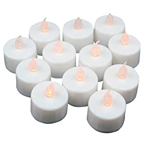 Caltrad 12 x Flickering LED Battery Candles Tea Lights Romantic Romance Accessory
