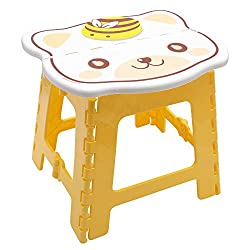 Super Strong 24cm x 22cm x 24cm Folding Step Stool for Kids, Cute cat design Stepping Stools, Garden Step Stool, holds up to 75KG - By Kurtzy ( Yellow )