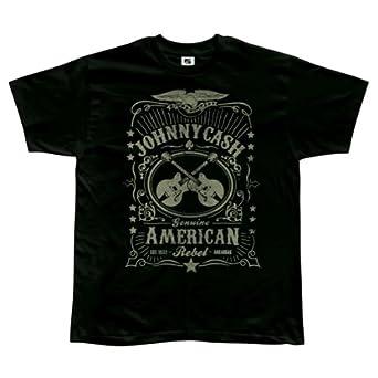 Johnny Cash - Mens Cash Label T-shirt Small Black