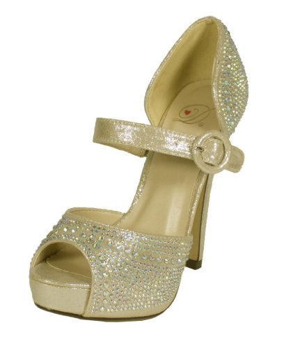 Expect! By Delicious Rhinestone Studded Peep Toe Platform High Heel With A Mary Jane Strap, Silver Shimmer, 10 M