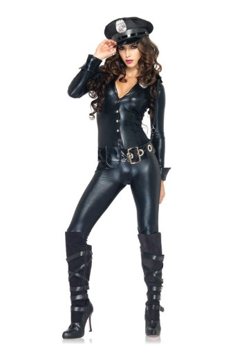 Leg Avenue Women's 4 Piece Officer Payne Lame Jumpsuit Costume