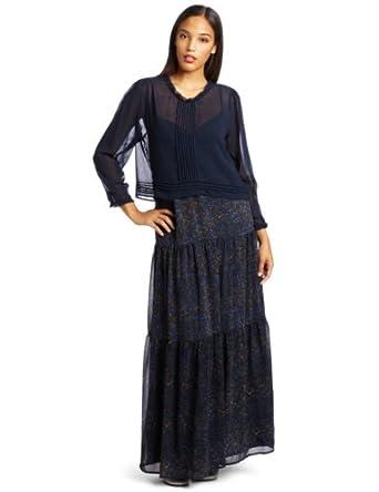 Patterson J. Kincaid Women's Pickering Long Dress, Blue Multi, Small