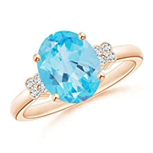 buy Solitaire Oval Blue Topaz And Diamond Floral Accent Ring In 14K Rose Gold(10Mm Blue Topaz)