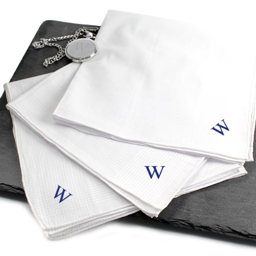 Raebella New York Classic Mens White Personalized Handkerchief 3Pc Set New 16X16 100% Cotton front-805265