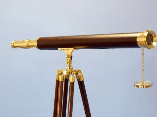 "Brass/Leather Harbor Master Telescope 60"" - Floor Standing Telescopes - Nautical Decor Home Decoration - Executive Promotional Gift"