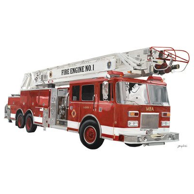 "Oopsy Daisy Classic Red Fire Engine Peel and Place, Red, 54"" x 30"""