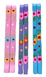 Set of 6 Painted Floral Hair Grips Slides Assorted Pastels