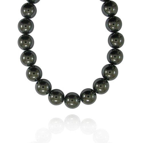 16mm Round Hematine Bead Necklace, 30+2