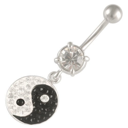 14 Gauge 1.6mm 3/8 10mm Jet dangle belly rings navel bar crystal steel button FCIP Jewellery Body Piercing