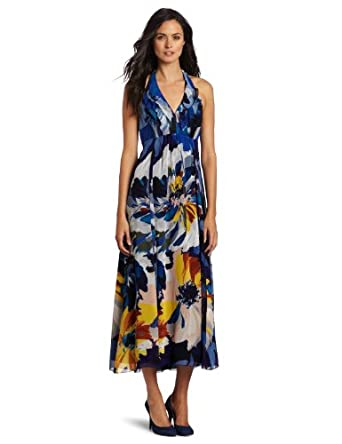 Jones New York Women's Chiffon Flutter Bodice Halter Maxi Dress, Multi, 6