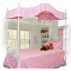 Pink White Purple Canopy Bed Fabric Cover Top Twin Size