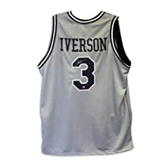 Allen Iverson Autographed Jersey - Gray Throwback - Autographed College Jerseys