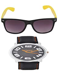 SelfieSeven Black Hand Watch With Yellow & Black Sunglass