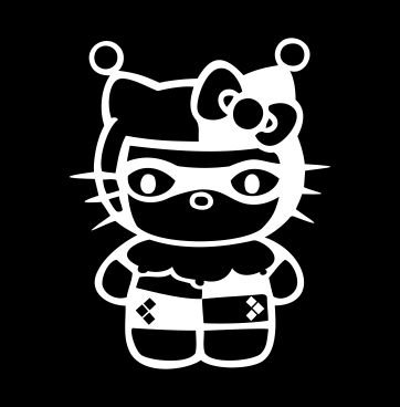 Harley-Quinn-Hello-Kitty-Batman-WHITE-Vinyl-CarLaptopWindowWall-Decal