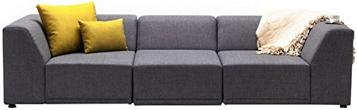 FabHomeDecor Alia Modular Three Seater Sofa (Grey)