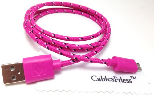 Cablesfrless 3Ft Braided High Quality Durable Micro B 2.0 Usb Charging / Data Sync Cable Fits Android, Windows Phone, Samsung Galaxy S5, And Other Micro Usb 2.0 Compatible Devices (Hot Pink)