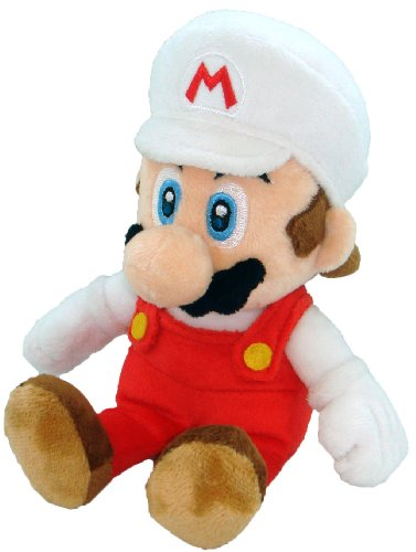 "Little Buddy Toys Nintendo Official Super Mario Fire Mario Plush, 8"" - 1"
