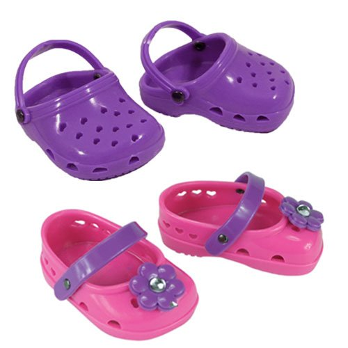 Doll Shoes for 18 Inch Dolls. 2 Pair of Polliwog Sandals-Pink & Purple