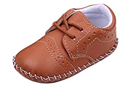 Femizee Infant/Toddler Baby Boys Sewing Pattern Soft Leather Oxford Shoes Khaki 6-9 Months