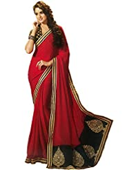 Faux Georgette Saree In Red Colour For Party Wear - B00VD5875Q
