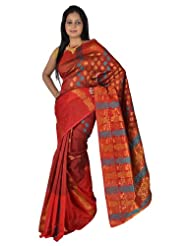 IndusDiva Net Dark Maroon Banarasi Saree with Zari Work