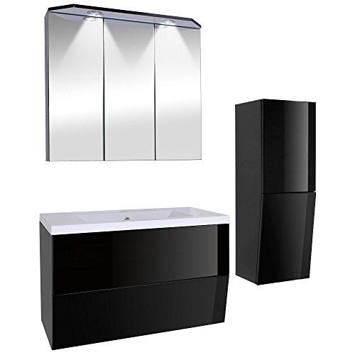 3-teiliges Badezimmermöbel-Set inkl. Waschbecken, Spiegelschrank, Unterschrank und Seitenschrank mit Beleuchtung