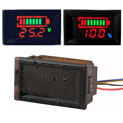 GEREE Waterproof DC 12V 24V 36V 48V 60V 72V 84V 96V Acid Lead/Lithium Polymer/Lithium iron Phosphate/NiMH Battery Capacity Indicator DC12V-96V Digital LED Tester Voltmeter Monitor (48 Volt Lithium Battery compare prices)