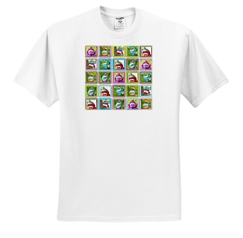 Lee Hiller Designs Colorful Sock Monkeys - Colorful Sock Monkeys Squares III - T-Shirts
