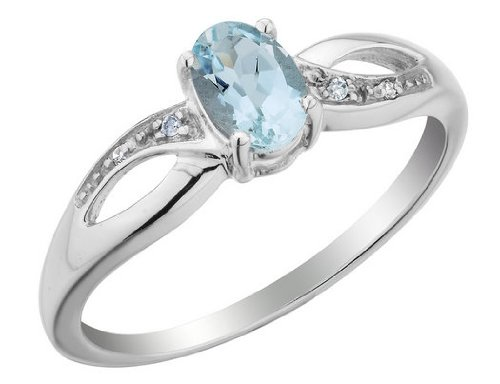 Aquamarine Ring with Diamonds 2/5 Carat (ctw) in 10K White Gold