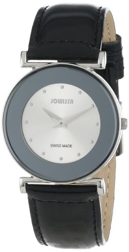 Jowissa Elegance Women's Quartz Watch with Silver Dial Analogue Display and Black Leather Strap J3.009.M