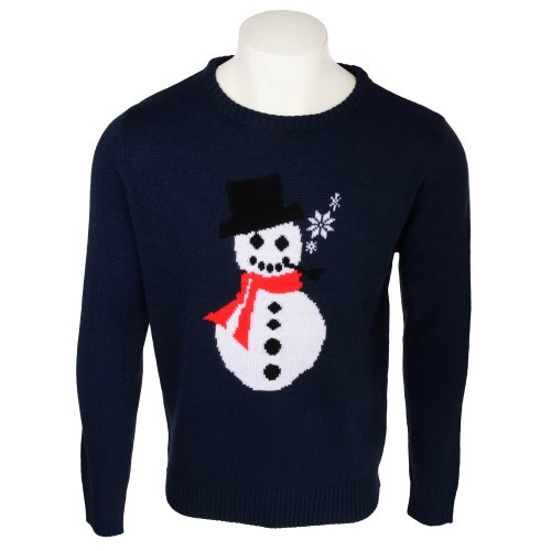 Fletcher & Lowe Mens Snowman Navy Crew Neck Knit Jumper in Size XLarge