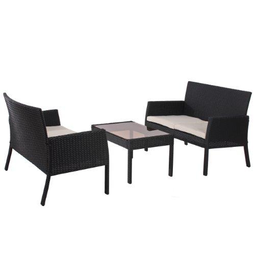 Mendler Poly-Rattan Garten-Garnitur Sitzgruppe Sanremo 2x Bank + Tisch ~ anthrazit