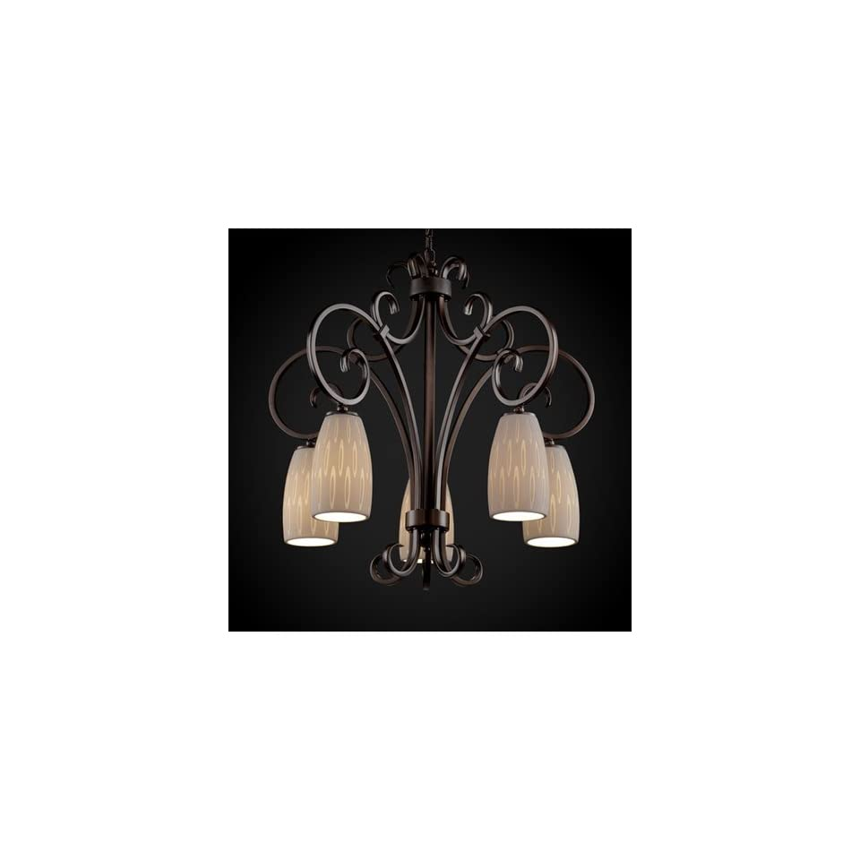 Justice Design Group POR 8575 28 OVAL DBRZ Limoges 5 Light Chandeliers in Dark Bronze