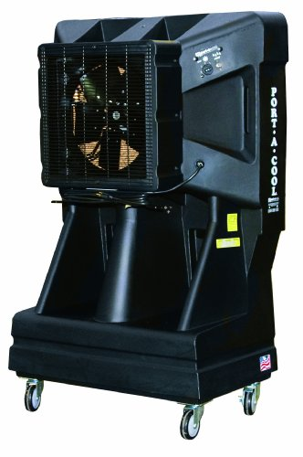 Portacool PAC163SVT 16-Inch Portable Evaporative Cooling Unit with Vertical Tank, 3900 CFM, 900 Square Foot Cooling Capacity, Black