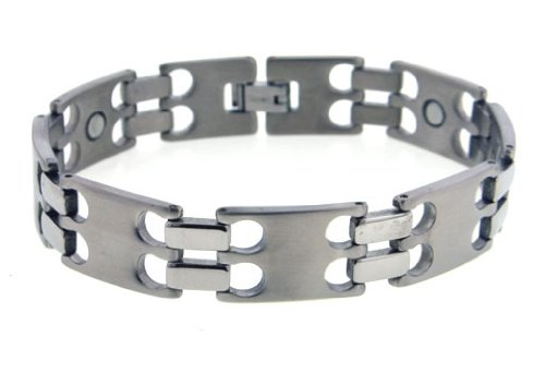 Magnetic Therapy Mens Hydrogen Staple Link Titanium Metal Jewelry Bracelet - 8.5