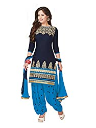 PShopee Navy Blue & Sky Blue Cotton Embroidery Unstitched Patiala Dress Material