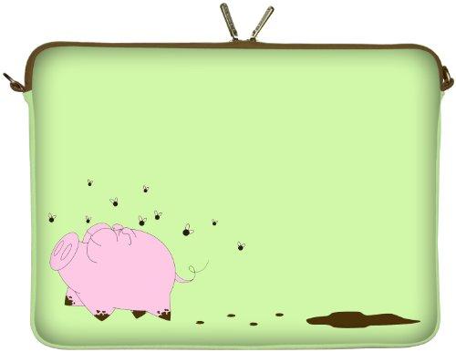 Digittrade LS158-15 Happy Piggy Notebook Sleeve Laptop neopren case custodia portatile borsa involucro protettivo 39,6cm (15,4 - 15,6 pollice) verde