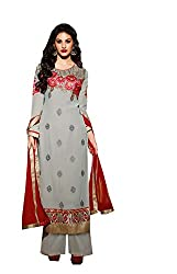 Amyra Women's Georgette Dress Material (AC738-09, Grey)
