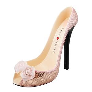 Sequined Rose Stiletto Wine Bottle Holder, Shoe Design, Pink